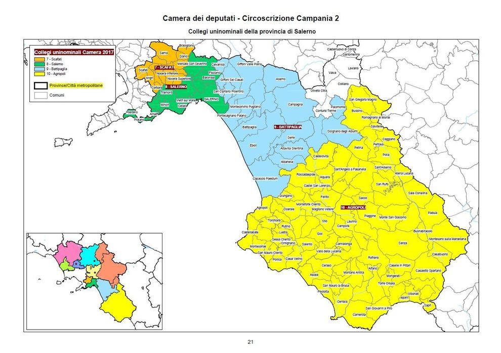 Cartina Campania Con Tutti Comuni.Collegi Uninominali Camera Campania 2 08 Salerno Il