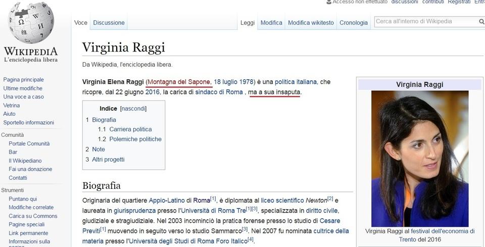 Beffa Wikipedia Virginia Raggi è Sindaco A Sua Insaputa Il Mattino