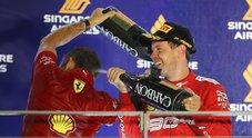 Gp Singapore, è doppietta Ferrari: Vettel batte Leclerc e si riscatta