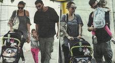 Francesco Arca e Irene Capuano: all'asilo con la figlia Maria Sole mentre Brando dorme nel passeggino