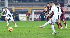Torino-Juventus 0-1: Ronaldo su rigore decide il derby, Allegri a +11