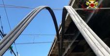 Immagine Tubi giù dal cavalcavia su linea elettrica ferrovia