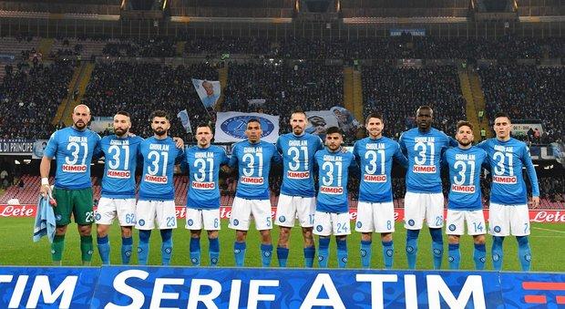 Napoli, tutti in campo con la maglia di Ghoulam. E l'algerino ringrazia su Twitter