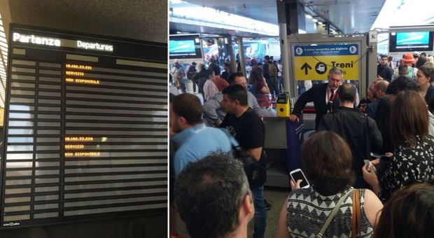 Blackout a Termini: display in tilt e treni bloccati