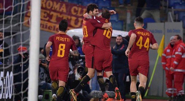 Roma all'ultimo respiro: un gol di Fazio al 94' piega il Cagliari 1-0
