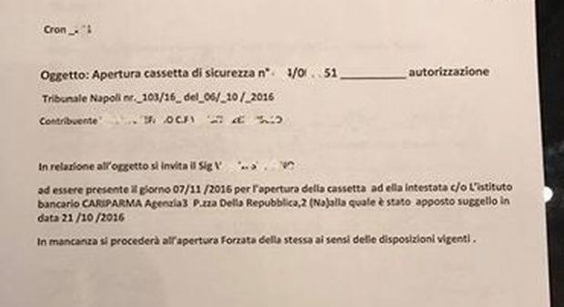 Napoli, pignoramento Equitalia: «Apra la cassetta di sicurezza in banca»
