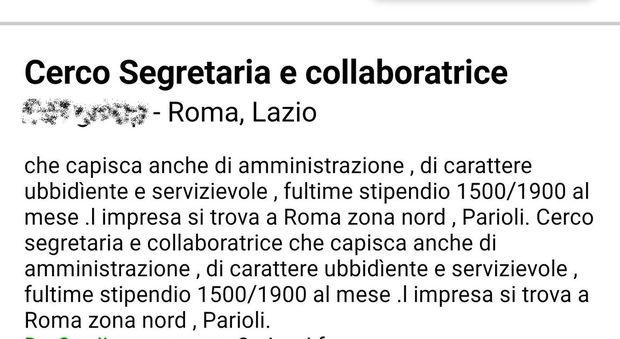 Cercasi segretaria ubbidiente e servizievole l 39 annuncio - Porta portese lavoro roma segretaria ...