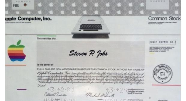 In vendita la prima azione Apple di Jobs, il giallo del ritrovamento