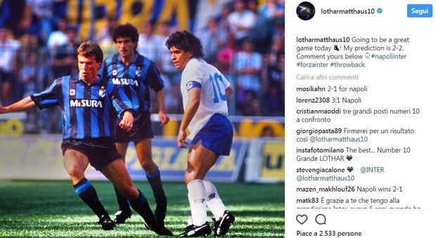 Napoli-Inter, su Instagram Matthaus posta foto con Maradona e fa pronostico