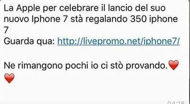 «iPhone 7 in regalo per 350 persone»: ti è arrivato questo messaggio? Ecco cosa (non) fare