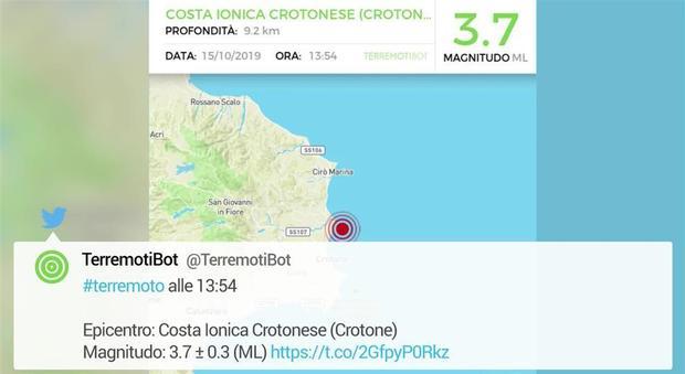 Terremoto a Crotone, le segnalazioni su Twitter