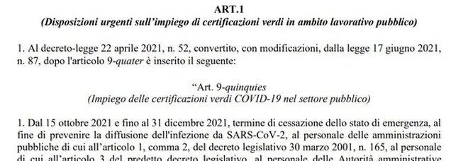 Decreto Green pass, testo integrale in Pdf: obbligatorio per tutti i lavoratori pubblici e privati