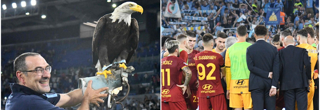 Sarri sotto la Nord con l'aquila Olimpia, Mourinho riunisce la squadra: le due facce dopo il derby