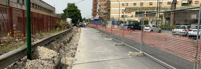 Napoli, lavori in corso tra via Janfolla e via Nazionale delle Puglie