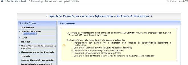 Coronavirus, indennità di 600 euro al via. Ecco le procedure sul sito Inps