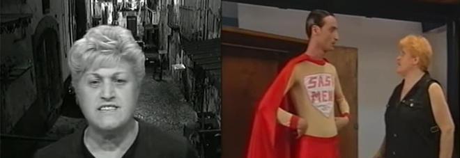 A sinistra Teresa Trevico in  una puntata di TeleGaribaldi, a destra ancora lei mentre recita col figlio Rosario Verde nei panni di Sasà Men