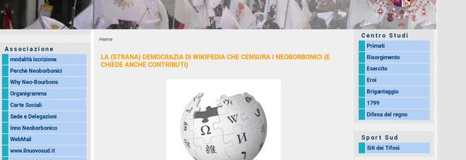 I Neoborbonici contro Wikipedia: «Noi censurati per motivi ideologici, altro che libera enciclopedia»