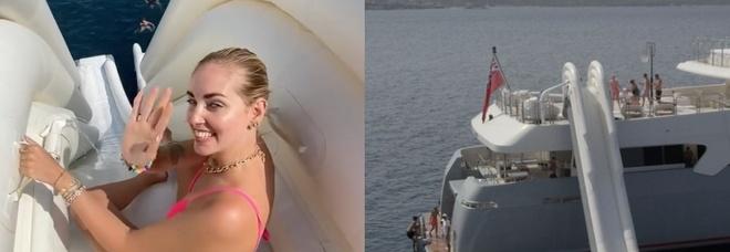 Chiara Ferragni sul mega yacht di Riccardo Silva con super scivolo e campo da basket. Fan increduli: «Leone fa l'idromassaggio»