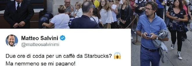 Starbucks, file record. E Salvini twitta: «Due ore per un caffè? Nemmeno se mi pagano»