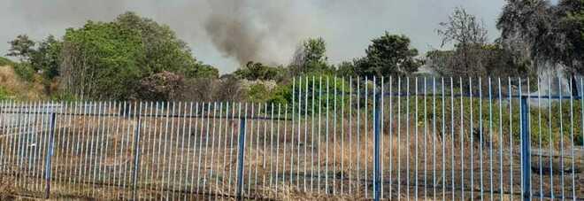 Vasto incendio nel sito abbandonato dell'ex Manifatture del Circeo