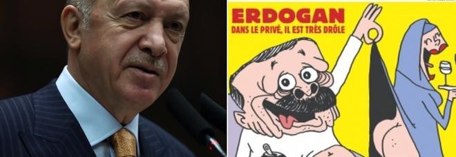 Erdogan querela Charlie Hebdo per la vignetta in copertina: «Attacco ignobile, sono canaglie»