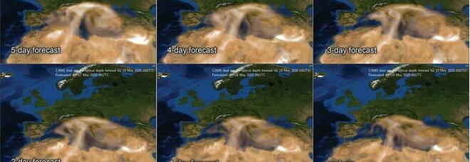 Il cielo giallo assedia l'Italia, nube sahariana su mezza Europa. Afa record