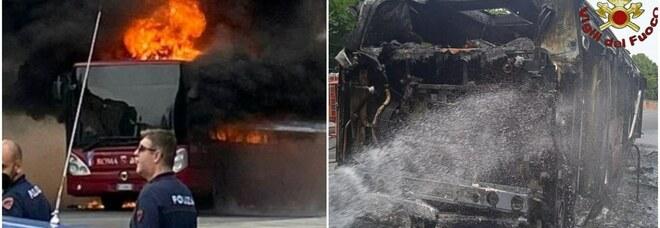 Roma, bus in fiamme vicino allo Spallanzani: nessun ferito