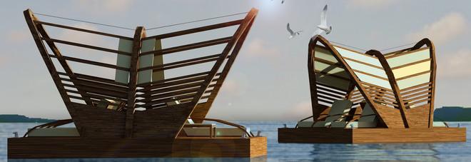 Beach Luxury Unit, premiata al Sun di Rmini tra le dieci idee più promettenti del turismo balneare. Il modulo galleggiante è progettato dalla startup irpina Iavarone Wood Technology