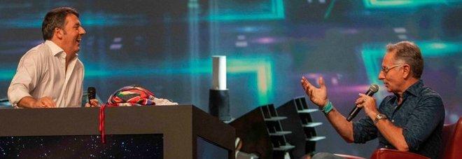 Renzi sul palco con Bonolis: «Qua il conduttore tv sono io, finalmente realizzo il mio sogno»