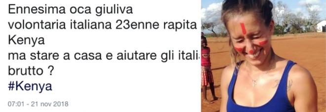 «Oca giuliva, poteva stare a casa e aiutare gli italiani». Insulti choc a Silvia Romano, la volontaria rapita in Kenya