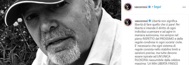 Vasco Rossi e il Covid, il post su Instagram: «Libertà non significa fare ciò che ci pare»