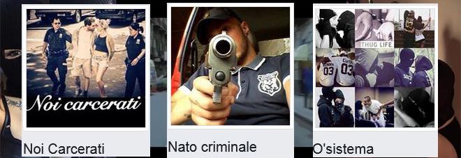 Le foto profilo di tre pagine Facebook legate alla malavita napoletana