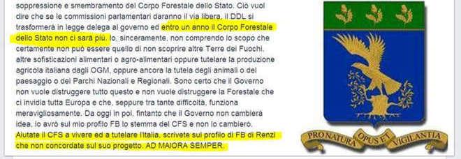 Abolizione Forestale, il comandante regionale arringa su Fb: «Protestate con Renzi»