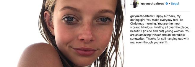 Gwyneth Paltrow, la figlia compie 14 anni: la foto su Instagram, «bella come mamma e papà»