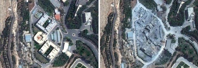 Il centro di ricerca di Damsco prima e dopo le bombe (Satellite image)