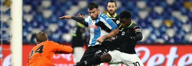Andrea Petagna in gol contro lo Spezia