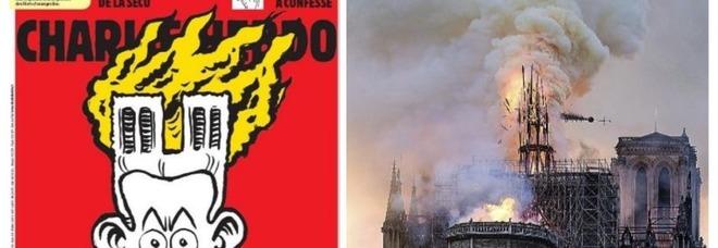 Notre-Dame, la vignetta di Charlie Hebdo. Insulti dagli italiani: «Avevate riso di noi»