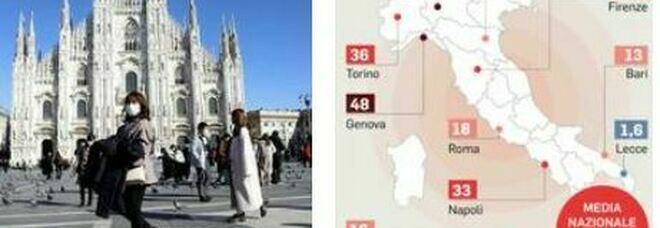 Covid, Milano, Genova e Aosta sono le capitali del virus: Lecce è la meno colpita