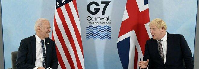 """G7, Biden incontra Johnson: asse su """"nuova carta atlantica"""". «Ma la Brexit non metta a rischio la pace in Irlanda del Nord»"""