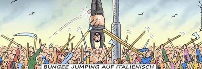 Salvini e la vignetta che evoca piazzale Loreto: «Mi mette a testa in giù, che pena»