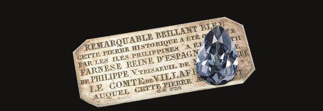 Il leggendario diamante «Blu Farnese» venduto all'asta per 6,7 milioni di euro