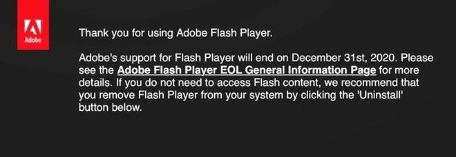 Adobe Flash Player addio: sistema spento, è consigliato disintallarlo