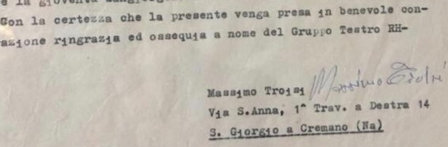 Troisi 45 anni fa: lettera per un teatro
