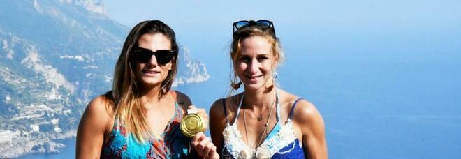 Ravello: le medaglie d'oro olimpiche Cesarini e Rodini in visita a Villa Rufolo