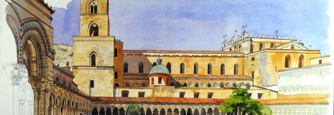 Monreale, Facciata sud della Cattedrale, vista del Chiostro, di Fabrice Moireau, in mostra a Palazzo Cipolla