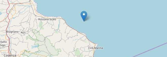 Terremoto, scossa davanti alla costa ionica della Calabria