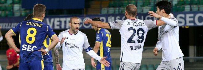 Verona ultimo avversario del Napoli ripreso due volte dal Bologna: 2-2