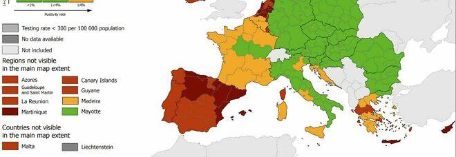 Variante delta, Lazio, Veneto, Sardegna e Sicilia diventano gialle nella mappa Covid europea
