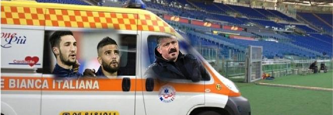 Napoli, non resta più nessuno: «Escono dal campo in ambulanza»