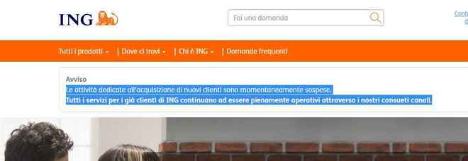 La home page del sito di Conto Arancio